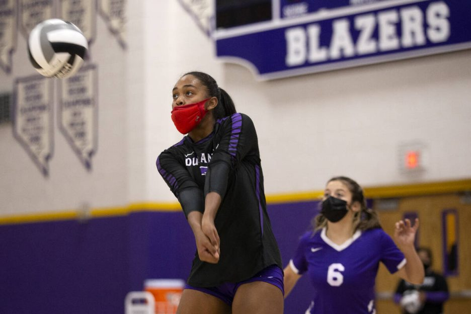 Durango's Sydney Wilkes (7) bumps during a high school volleyball game against Faith Lutheran a ...