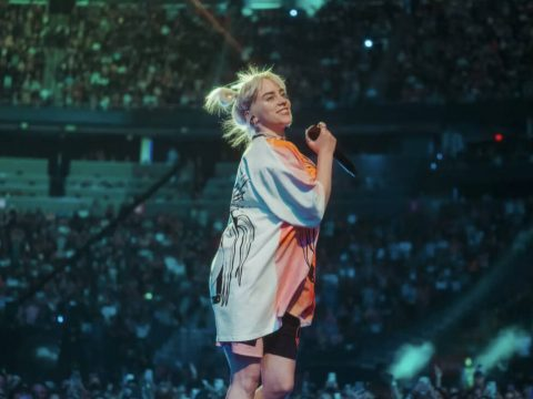 Billie Eilish performs during the 2021 iHeartRadio Music Festival at T-Mobile Arena on Saturday ...