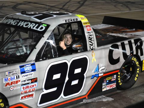 LAS VEGAS, NV - SEPTEMBER 24: Christian Eckes, driver of the #98 ThorSport Racing Curb Records ...