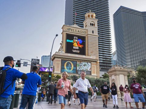 Pedestrians walk past Bellagio on Monday. Blackstone bought the Bellagio in 2019 from MGM Resor ...