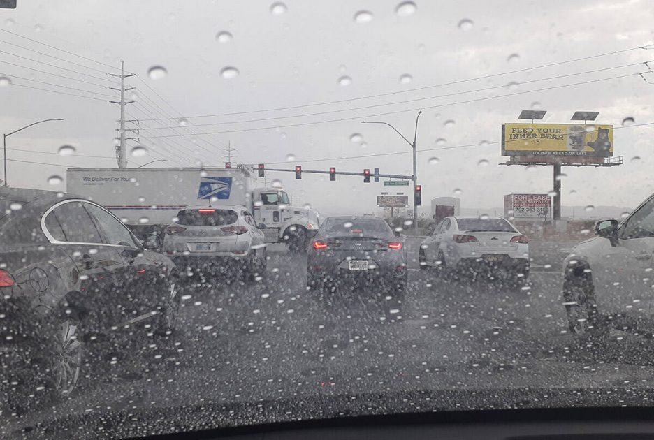 Plenty of windshields had raindrops on them Friday, Sept. 10, 2021, as large parts of the Las V ...