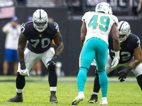 Offensive line work in progress for undefeated Raiders