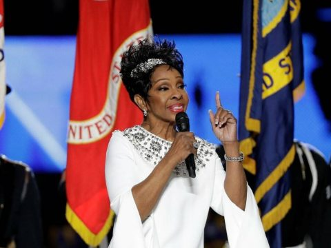 Gladys Knight sings the national anthem before Super Bowl 53 between the Rams and the Patriots ...
