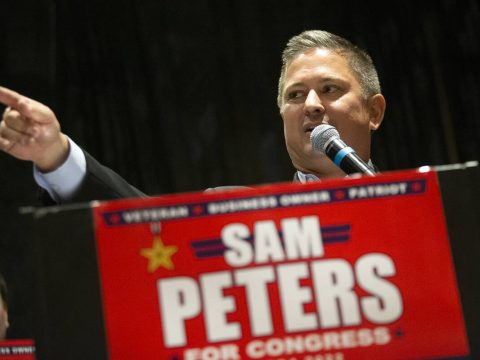 Republican Sam Peters, who is running for Nevada's 4th Congressional District, speaks during th ...