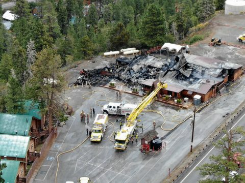 An aerial view of the Mount Charleston Lodge which was destroyed early morning fire on Friday, ...