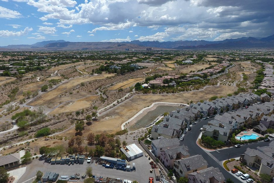 Aerial view of former Badlands golf course as seen from Alta Drive in Summerlin on Thursday, Ju ...