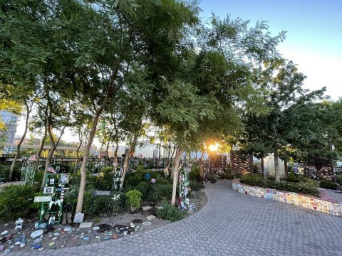 The sun rises in the Healing Garden on the eve of the four-year anniversary of the Route 91 Har ...