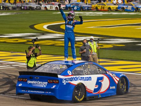 NASCAR Cup Series driver Kyle Larson (5) celebrates after winning the NASCAR Cup Series Pennzoi ...