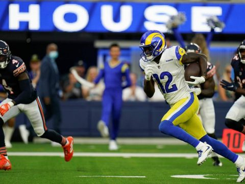 Los Angeles Rams wide receiver Van Jefferson runs his way for a touchdown during the first half ...