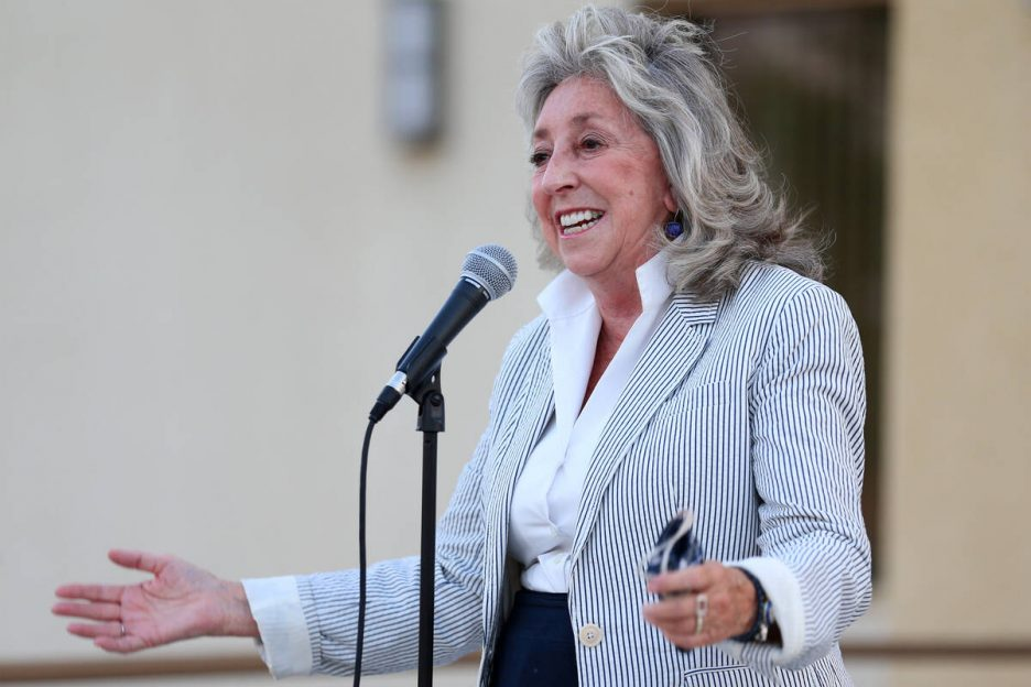 Congresswoman Dina Titus speaks during a Good Trouble candlelight vigil on the anniversary of t ...