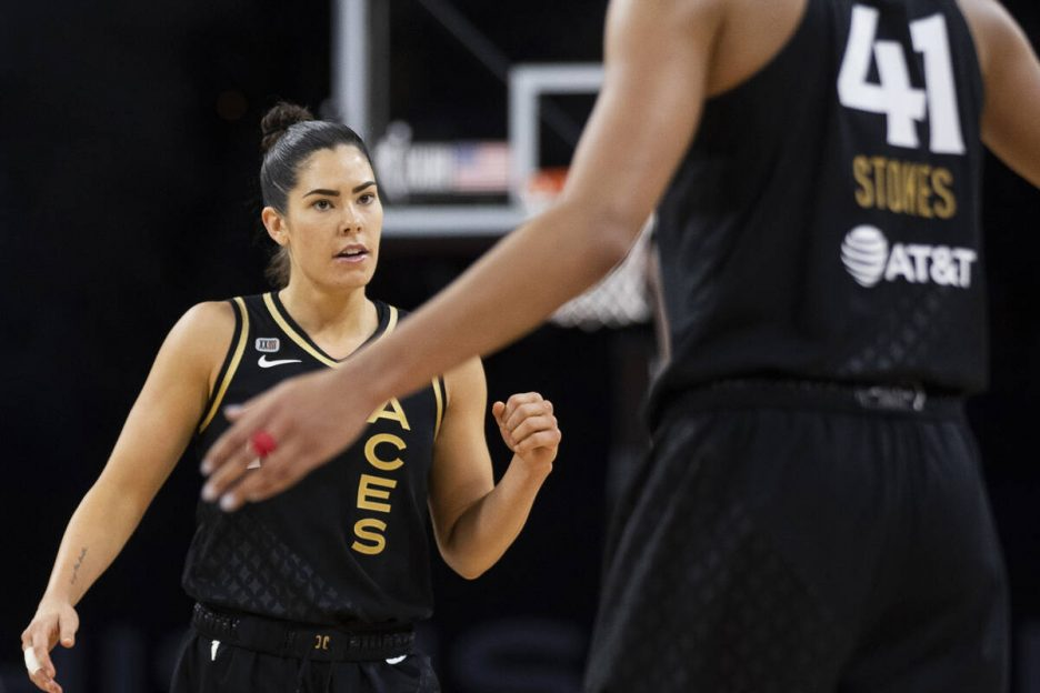 Las Vegas Aces guard Kelsey Plum (10) celebrates a big play with teammates in the second half o ...