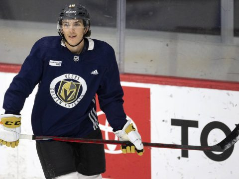 Golden Knights left wing Peyton Krebs (18) smiles after making a goal during a NHL hockey train ...