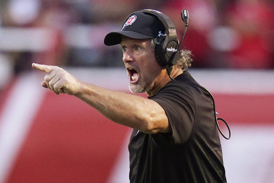 Utah coach Kyle Whittingham reacts to a call during the first half of the team's NCAA college f ...