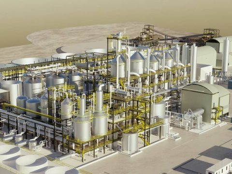 A rendering of the production facility at the planned Rhyolite Ridge lithium mine in rural Neva ...