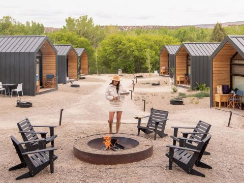 A fire ring provides a gathering place for those staying in cabins. (Kim and Nash Finley)