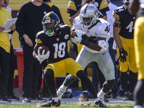 Raiders inside linebacker Cory Littleton (42) tackles Pittsburgh Steelers wide receiver Diontae ...