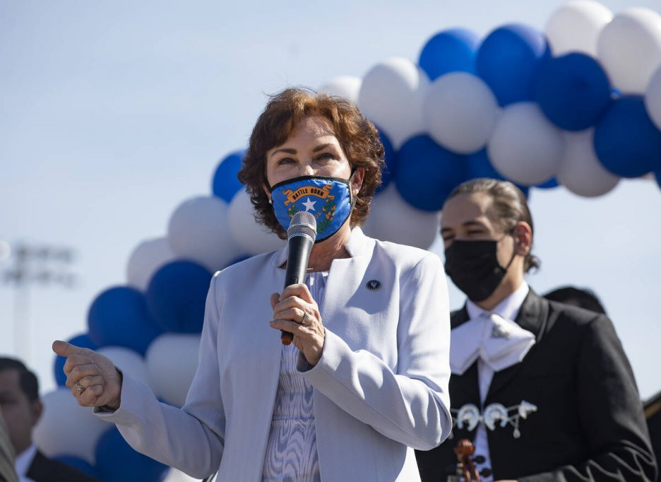 Sen. Jacky Rosen, D-Nev., speaks at an event to promote early voting at the East Las Vegas Comm ...