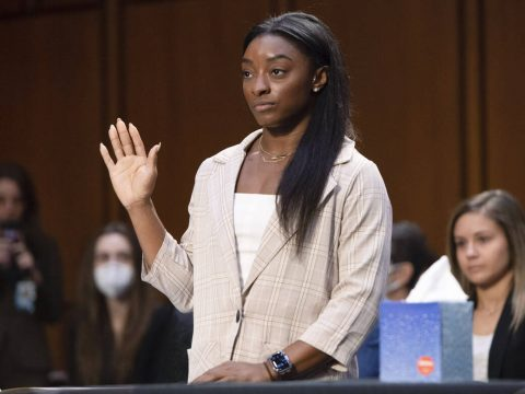 United States Olympic gymnast Simone Biles is sworn in during a Senate Judiciary hearing about ...