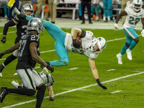 Miami Dolphins defensive back Clayton Fejedelem (42) is airborne from Raiders wide receiver Hun ...