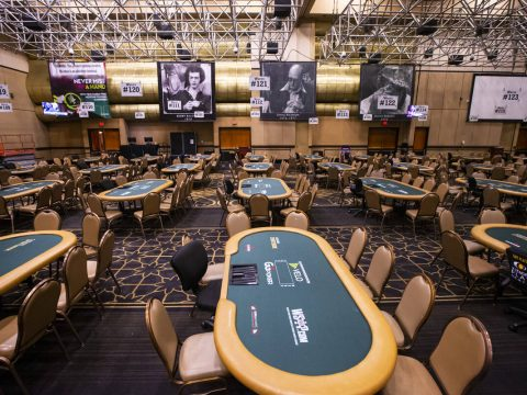 Images of World Series of Poker champions Bobby Baldwin, from left, Doyle Brunson, and Sailor R ...