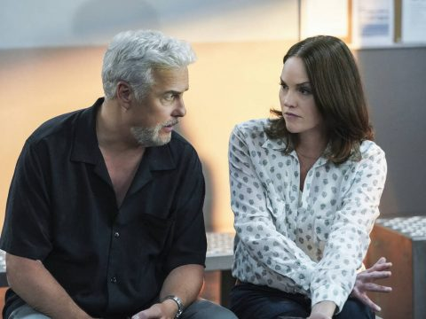 William Petersen,left, as Dr. Gil Grissom and Jorja Fox as Sara Sidle. (Sonja Flemming/CBS)