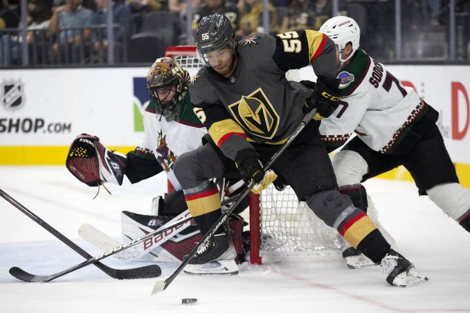 Golden Knights right wing Keegan Kolesar (55) attempts to score a goal while Coyotes goaltender ...