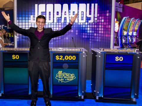 """""""Jeopardy!"""" champion James Holzhauer on hand to play a few rounds for fun with IGT ex ..."""