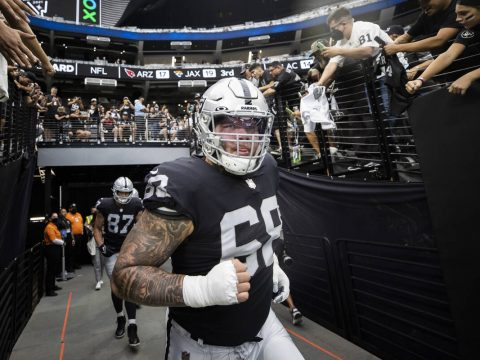 Las Vegas Raiders center Andre James (68) takes the field before the start of an NFL football g ...