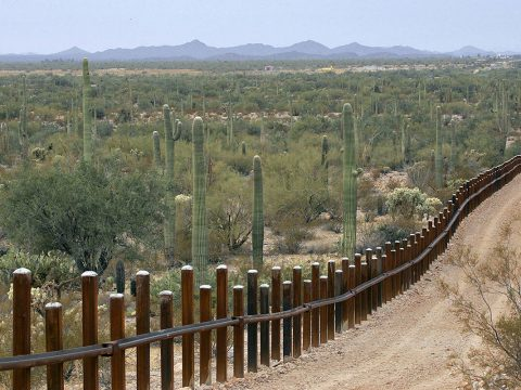 FILE - This Feb. 17, 2006 file photo shows the international border line made up of bollards: i ...