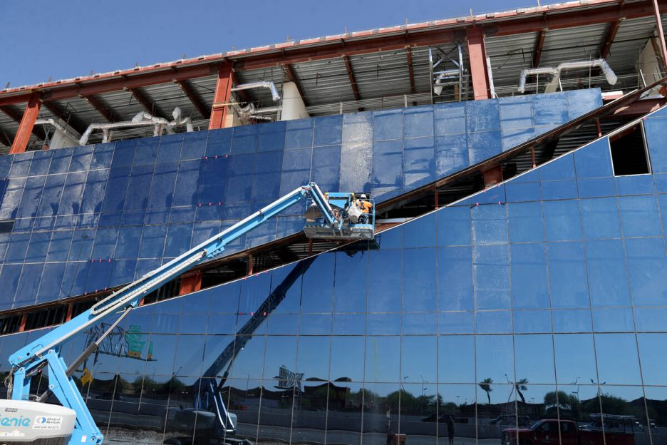 Axiom, a new office complex with a slanted wall design under construction in the southwest Las ...
