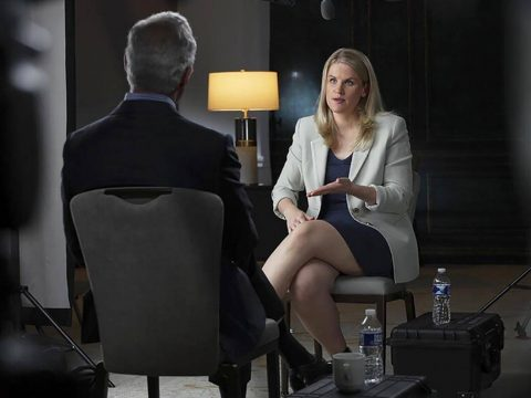 In this Sept. 16, 2021, photo provided by CBS, Facebook whistleblower Frances Haugen talks with ...