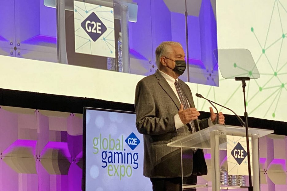 Governor Steve Sisloak gives a keynote address on the resurgence of gaming during the opening o ...