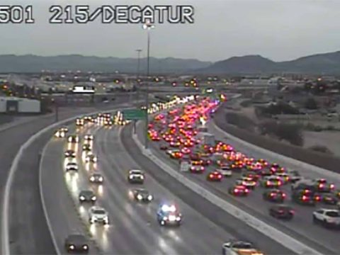 Crashes on the 215 Beltway at Decatur Boulevard are causing traffic delays. (RTC)