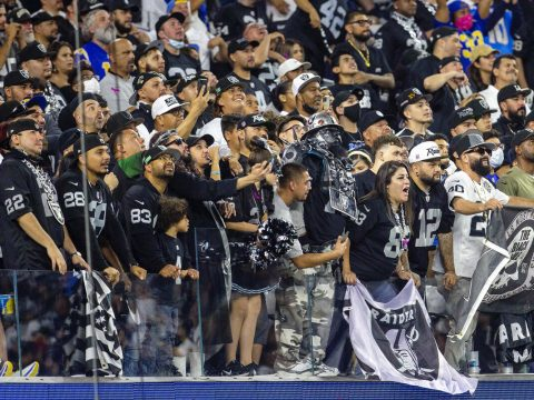 Raiders fans have a strong presence at the Los Angeles Chargers as seen during the third quarte ...