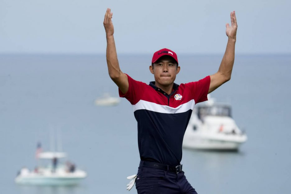 Team USA's Collin Morikawa reacts after winning the 17th hole during a Ryder Cup singles match ...