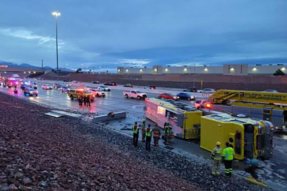 A Clark County fire truck has overturned on the 215 Beltway. (Nevada Highway Patrol)