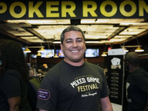 Robbie Strazynski, the Mixed Game Festival organizer, poses for a photo at the Westgate poker r ...