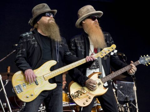 FILE - Dusty Hill, left, and Billy Gibbons from U.S rock band ZZ Top perform at the Glastonbury ...